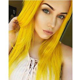 cosplay white straight long hair Coupons - New Sexy Cosplay Wigs 180% Density Yellow Color Long Silky Straight Fiber Hair Heat Resistant Synthetic Lace Front Wigs for White Women