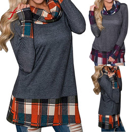 Wholesale Womens Purple Scarves - Womens Scarf Collar Tops Plaid Lattice Splice Patchwork Plus Size Shirts Tunic Full Sleeve Long Pullover Sweatshirt Clothes