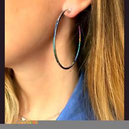 Wholesale rose gold earrings hoops - rose gold colorful hoop earring 45mm hoops european rainbow cz women gift Chic Gorgeous fashion big cz circle hoop jewelry