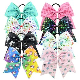 Wholesale Hair Rubber Band Baby - Baby JOJO 8 Inch Large Grosgrain Ribbon Bow Hairpin Clips Girls Large Bowknot Rubber band Kids Hair Boutique Bows Children Hair Accessories