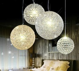 simple round crystal lighting Coupons - hot Modern round ball Iron Chandelier diameter 15CM 20cm 30cm 50cm 40cm led lamps simple crystal Chandeliers led pendant lamp lighting