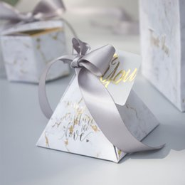 Wholesale Triangular Boxes - YOURANWISH 50pcs lot Triangular Pyramid gift box wedding favors and gifts candy box wedding gifts for guests decoration