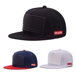 Wholesale cap press - Rap Hip Hop Cap Fashion Men Black Stereoscopic Offset Press Plate Running Snapback Solid Color Flat Edge Cotton Hat 9 5gs hh