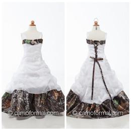 2019 projeto quente do vestido da menina Espaguete Organza Lace Apliques Camo Trem Da Varredura Flor Meninas Vestidos Beading Meninas Pageant Vestidos De Festa Personalizado Formal Crianças Vestir Barato