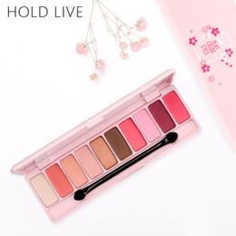 Trucco di marca coreano online-HOLD LIVE Palette per ombretto opaco Peach per ombre rosse Coreano Makeup Brand Pink Cherry Blossom Glitter Eyes Ombre Kit di palette
