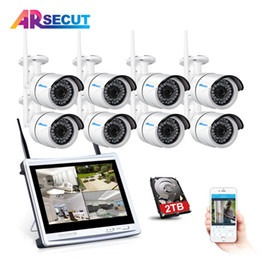 """Wholesale Lcd Video Monitor Kit - Wireless 8CH CCTV System 12"""" LCD Monitor NVR P2P 960P HD Outdoor IR Night Vision Security IP Camera WIFI Video Surveillance Kit"""