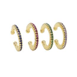 Проколотая серьга онлайн-925 стерлингового серебра ювелирные изделия простой круглый круг манжеты красочные cz проложили зеленый синий красный фиолетовый позолоченные нет пирсинг манжеты серьги