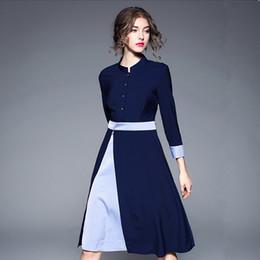 63e42aae0f2 ladies formal office dress Canada - Office Button Dress Formal Dress Women  Elegant Blue Ladies Dresses