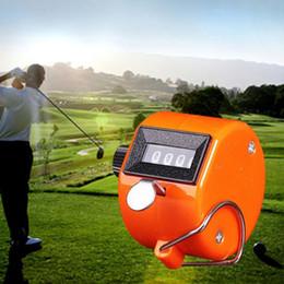 Contatore arancione online-Orange Mini 4 Digit Hand Tally Contatore meccanico digitale manuale conteggio Tally Finger Clicker per lo sport Golf Training