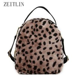 рюкзаки из искусственного меха Скидка Backpacks Women 2018 Leopard Fashion Faux Fur Shoulder Bags  Rucksacks For School Teenager Girls Travel Knapsack S944