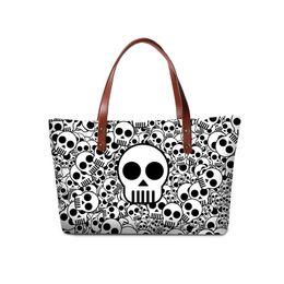 Wholesale neoprene handles - Neoprene High Quality Womens Top-Handle Bag Girls Shoulder Bags Lady Trip Shopping Casual Tote Skull Printing Big Medium Space