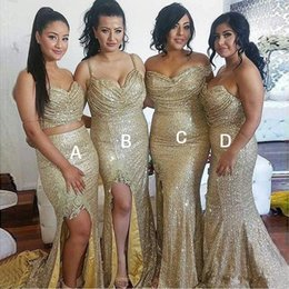 Wholesale Mermaid Style Prom Wedding Dress - Gold Sequins Bridesmaid Dresses With Appliqued Arabic Sweep Train Mixed Styles Sweetheart Split Mermaid Prom Gowns Wedding Party Dresses