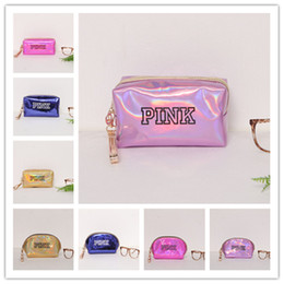 Wholesale hot pink makeup bag - Pink letter Hologram Laser Cosmetic bag love pink shell bags Large capacity Storage Bags waterproof wash makeup bags portable coin purse hot