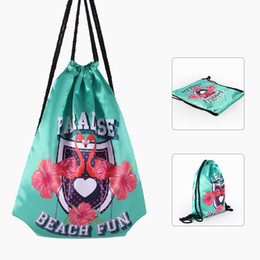 Wholesale Waterproof Folding Backpack - Printed Flamingo Drawstring Bag Paradise Beach Fun English Letter Backpack Soft Waterproof Travel Storage Bags Green 11 8yy B