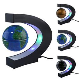 """Wholesale Levitation Floating Globe - US EU UK Plug 3"""" Home Office Decoration LED Tellurion Globe C Shape Floating Magnetic Levitation Globe Light World Map With LED Tellurion"""