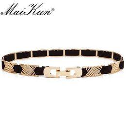 Cinturones de tela elástica de metal de lujo para un vestido Líneas geométricas de alta moda Cinturón femenino Punk Ceinture Cinturón de mujer elegante desde fabricantes