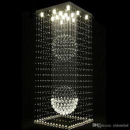 Argentina Lámparas de cristal cuadradas contemporáneas gota de lluvia luz de techo luces de la escalera luces colgantes accesorios hotel Villa bola de cristal forma de la lámpara cheap crystal ball ceiling lights Suministro
