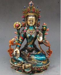Cloisonne antiques онлайн-бронзовая фабрика чистая латунь античный 8.66 дюймов изысканный ручной резьбой перегородчатая буддийский Будда зеленый тара статуя