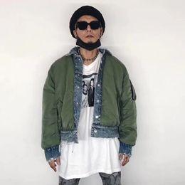 High Street OVERSIZE Fashion Jacket Hole Grinding trapuntato imbottito a doppia faccia Indossare uomini e donne all'esterno della giacca di jeans HFBYJK023 da donne imbottite imbottite fornitori