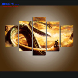 Wholesale Floral Picture Frames - Large Modern Giclee Print Art Cartoon Dragon Ball Z Painting Canvas Print Wall Home Decor 5 Piece Painting picture for Living Room Decor