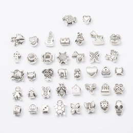 Wholesale Necklace Pendant Loose Beads - 40pcs lot 5mm Hole-diameter Mix Styles Loose Beads Charm DIY Jewelry Accessory Pendant For Keyring Bracelet Necklace