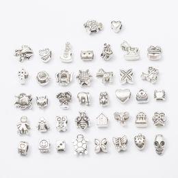 Wholesale flower keyrings - 40pcs lot 5mm Hole-diameter Mix Styles Loose Beads Charm DIY Jewelry Accessory Pendant For Keyring Bracelet Necklace