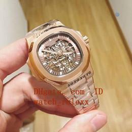 Wholesale transparent digital watch - Mens Top Big wristwatches Sapphire Automatic Mechanical 40mm Nautilus 5711 1R-001 010 011 Gold Asia Transparent Mens Watch V5 Watches