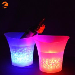 Wholesale Waterproof 5l - LED Luminescence Ice Bucket Champagne 5L Bar Supplies Circular Plastic Barrel Colorized Waterproof Silicone Button Hot Sale 45kf V
