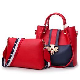 Wholesale large pink bags - Women Handbags Female Bags High Grade Leather PU Fashion Simple Elegant Delicate Bee Metal Large Capacity 2-Piece Set Luxury Brand