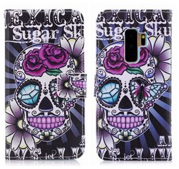 Wholesale skull phone iphone cases - Skull Wallet Cases For Samsung Galaxy S9 Skin S9 Plus Leather Flower Butterfly Card ID Cash Flip Cover PU Purse Bear Cell Phone Pouch+Strap