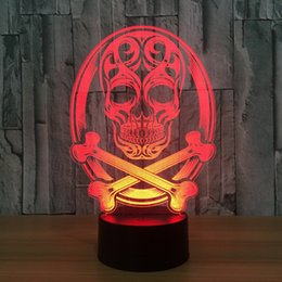 multi luzes coloridas noite Desconto LED 3D Color Noite Ligh trocar a lâmpada Punisher Crânio Multi-colorido bulbificação Luz Acrílico Mesa, Secretária 3D USB Dropshipping Atacado Luz