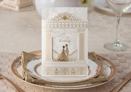 Wholesale Wedding Invitations Blank Inside - Wholesale- free shipping 2016 new 50pcs romantic golden bride and groom wedding invitation card with envelope blank inside card