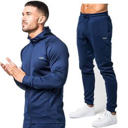 Wholesale Building Clothes - Sport Suit Men Set Running Gym Sportswear Tracksuits Fitness Body building Mens Hoodies+Pants Sport Outwear Clothing Suit Male