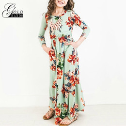 Wholesale Day Maxi Dress - Baby Girls Princess Long Dress Fashion Trend Bohemian Dress for Girls Beach Tunic Floral Autumn Maxi Dresses Kids Party Dresses