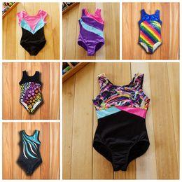 Wholesale Girls Gymnastics Clothing - Baby girls kids toddlers shiny sports sparkle gymnastics Tank ballet leotards latin 4-10Y dancewear child girls dancing clothes 22 styles