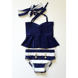 Wholesale breasts halter - Summer Girls Navy Blue Stripe High Waist Two-piece Halter Hanging Neck Double-Breasted Swimwear with Hairbands 3pcs sets Swimsuit