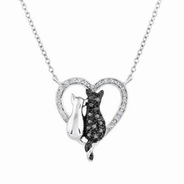 Wholesale Black Cat Ornament - Black And White Cat rhinestone Necklace Valentines Day Gift Love Ornaments Couple Necklace Women girls Jewelry Accessories KKA3938