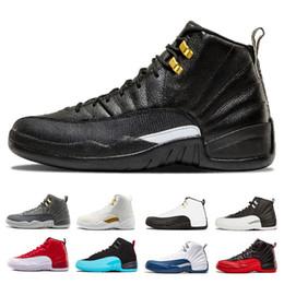 wholesale dealer 53d4f ebf56 Drop Shipping 12 Herren Basketball Schuhe weiß schwarz Gym Red Grippe Spiel  Französisch Gamma blau Taxi Playoffs der Master Wolf grau Sport Sneaker