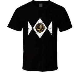 Wholesale xs power - Retro Design Black Ranger Power Ranger Distressed T-Shirt For Men size S-3XL