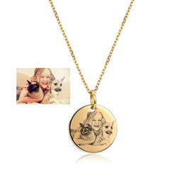 custom stainless steel dog tags Promo Codes - Custom Image Engraved Necklace Stainless Steel Disc Engraving Blank Necklace Personalized Name Photo Jewelry Dropshipping wholesale