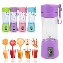 Wholesale Electric Juicers - Newest High Quality 380ml USB Electric Fruit Juicer Handheld Smoothie Maker Blender Rechargeable Mini Portable Juice Cup Water Bottle
