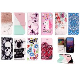 Wholesale cute chinese wallets - For Huawei P20 9 Lite Mate 10 Pro Leather Wallet Case Skull Flower Marble Leopard Dog Flip Cover Butterfly Cartoon Card Unicorn Cute Coque