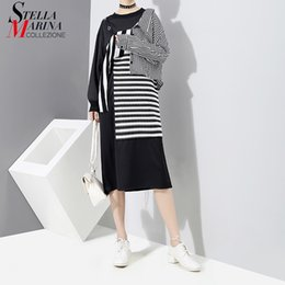 Wholesale Korean Evening Party Dress - New 2018 Korean Patchwork Style Women Black Striped Dress Long Sleeve Knee Length Girls Evening Nigh Party Dress Club Wear 3254