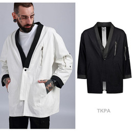 Wholesale Japanese Style Jackets - TKPA Men Kimono Jacket Tops Japanese Style Shirts White Black Casual Shirts Cardigans Homens Clothes