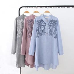 Wholesale Plus Size Vertical - D1 Autumn Casual Long Shirt 4XL Plus Size Women's Clothing Fashion Cotton loose embroidered Vertical stripes Blouses 7025