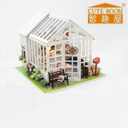 Wholesale Wooden Toys Cake - Wholesale-2017 New Arrival Handmade Miniature Wooden Doll House With Light Diy Furniture Dollhouse Toys For Kids Birthday Gifts Cake House