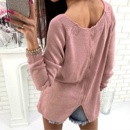 2019 Back Adjustable Zipper Casual Women Sweaters Autumn Winter Girl Solid  Long Sleeve Knitted Pullovers Sweater Tops Plus Size 46482f9b9