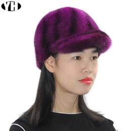 Cappelli di pelliccia genuini online-2018 donne eleganti moda reale cappello naturale regolabile genuino copricapo di baseball cao baseball