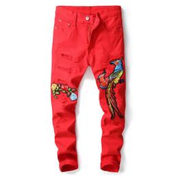Canada New Young Man jeans Style européen et américain Fleur et Phoenix Broderie Pantalon Denim Slim Jeans Pantalon cheap american young style Offre