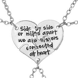 Wholesale Best Connect - 3 Piece Broken Heart Best Friends Necklaces Carved Side By Side Or Miles Apart We Are Sisters Connected At Heart Necklace